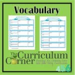 Vocabulary Pages for our Student Planning Binder