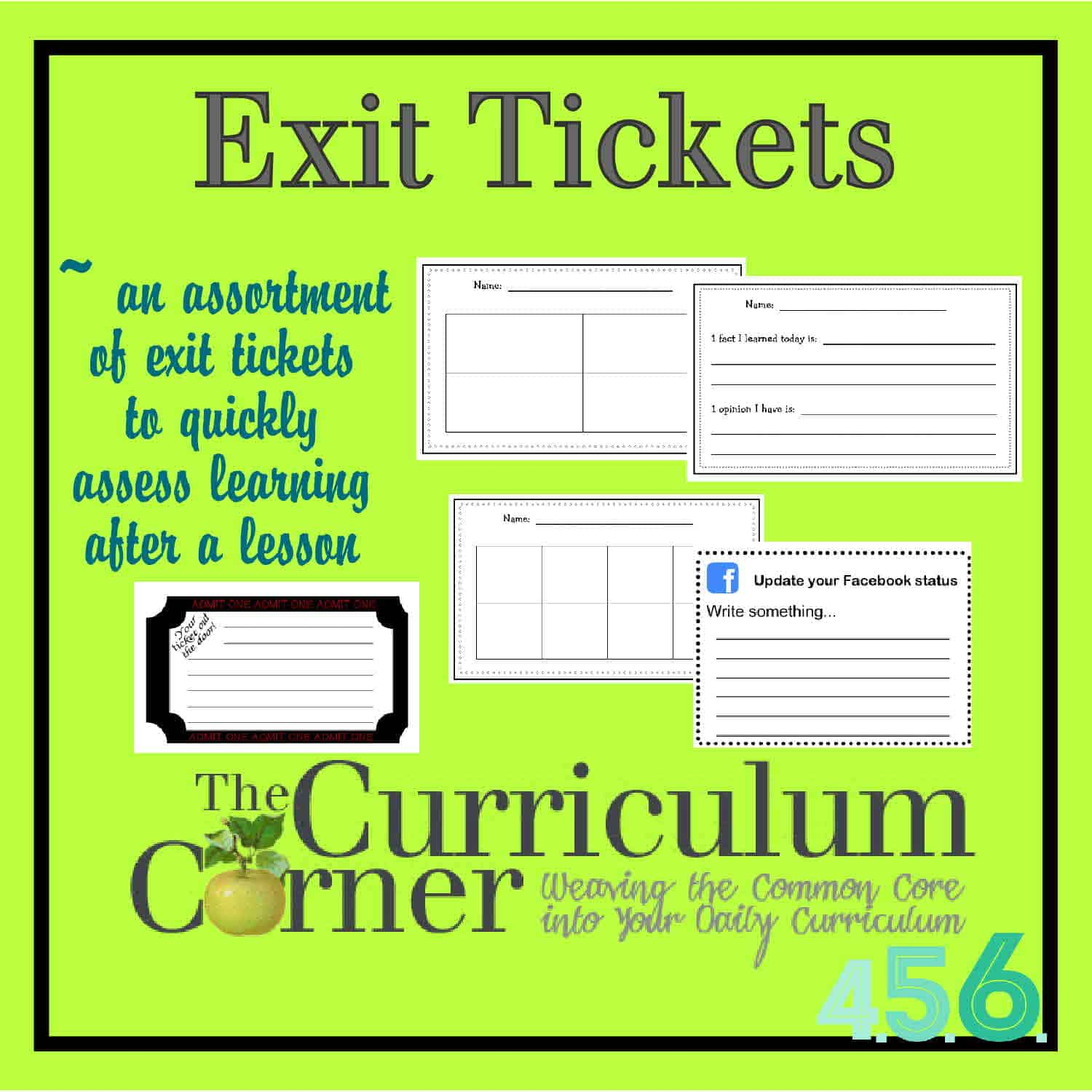 photograph regarding Exit Tickets Printable named Exit Tickets - The Curriculum Corner 4-5-6