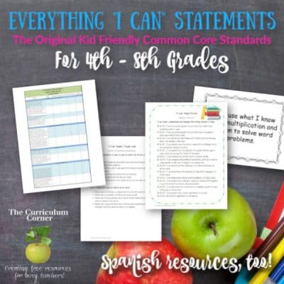 """""""I Can"""" Standards for 4th, 5th & 6th Grades"""