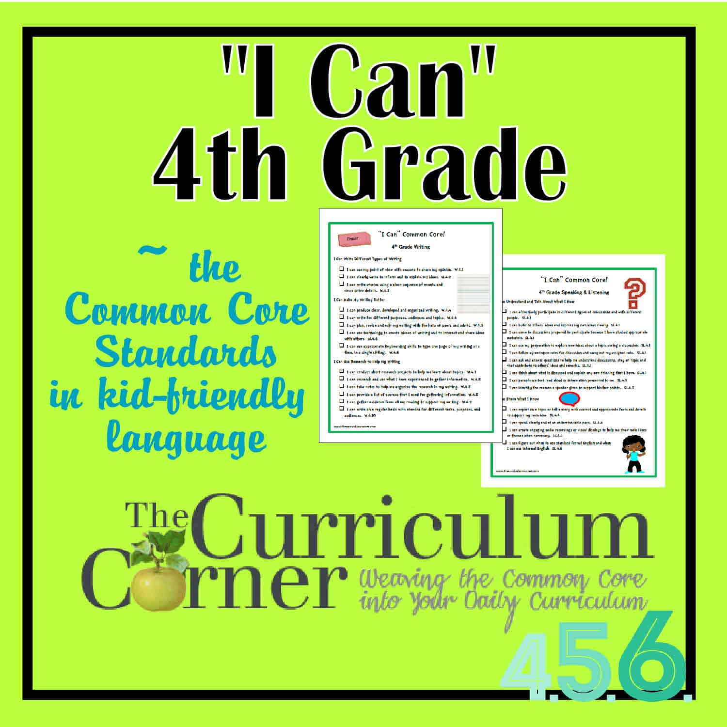 Core Standards You will find the new posters here 4th Grade I Cans