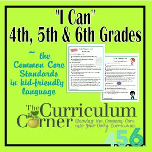I Can Standards 4th, 5th, 6th Grades