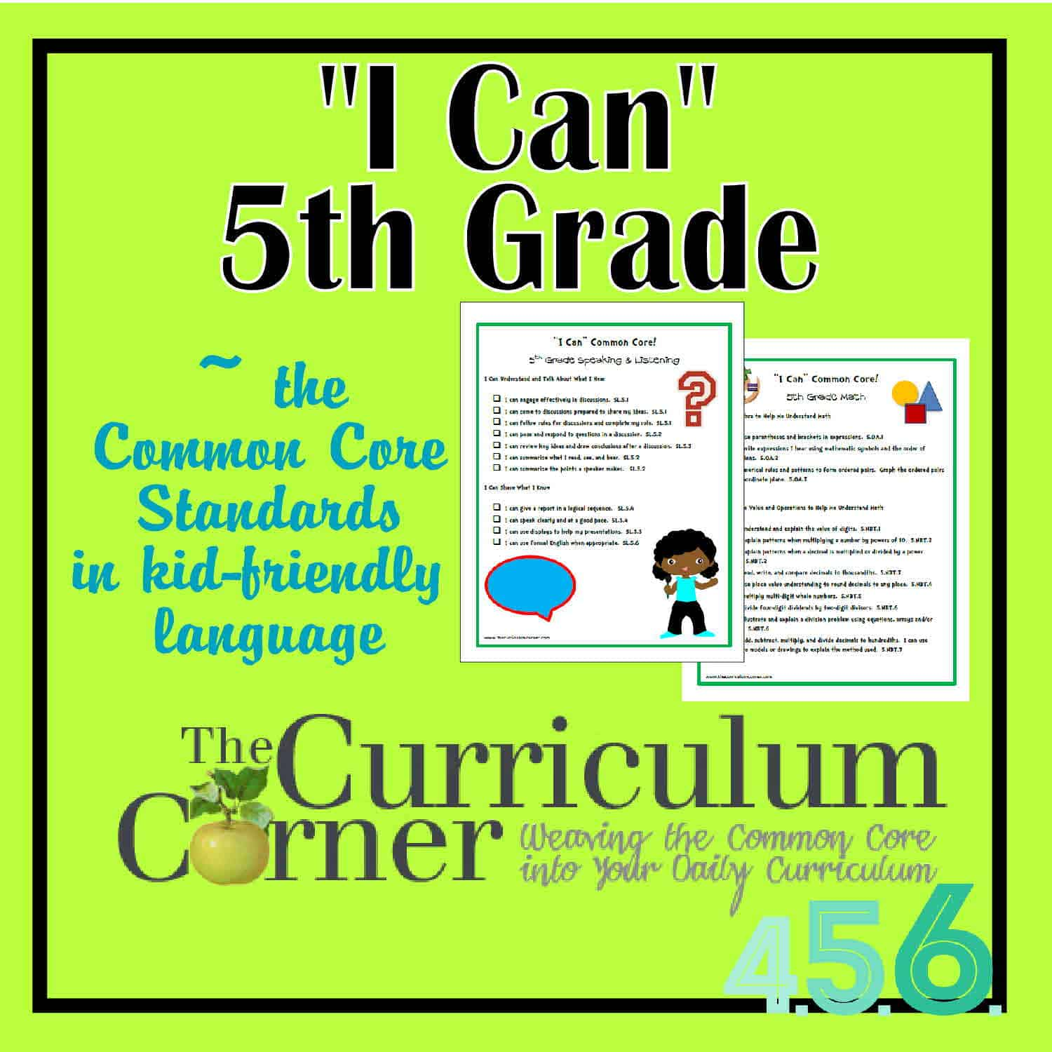 Worksheet 5 Grade i can common core 5th grade the curriculum corner 4 5 6 grade