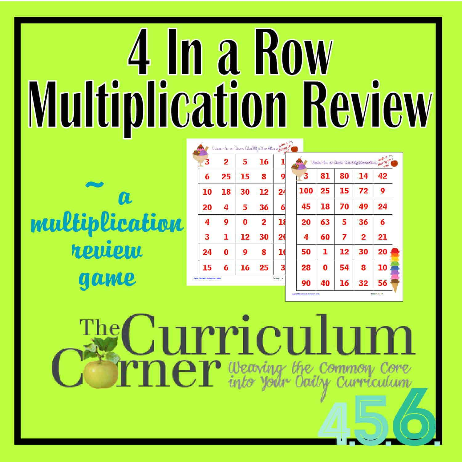 4 In a Row Math Fact Review Games - The Curriculum Corner 4-5-6