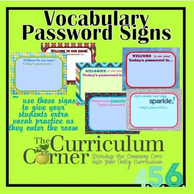 Vocabulary Password Signs