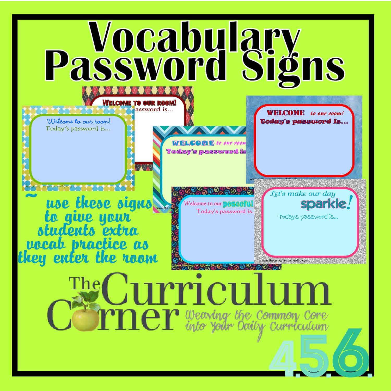 Vocabulary Password Signs - The Curriculum Corner 4-5-6