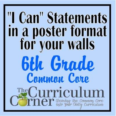 "6th Grade ""I Can"" Statements in Poster Format"