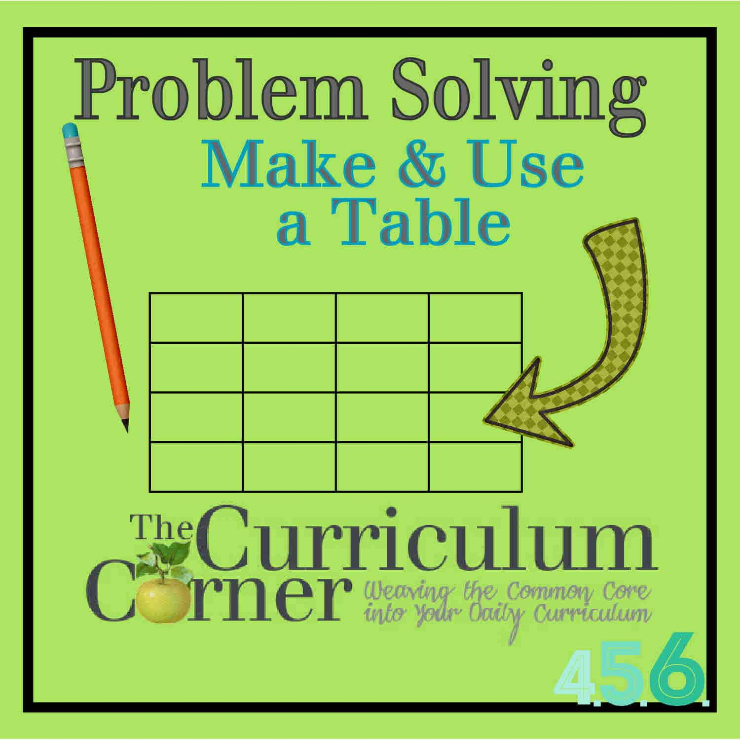 Problem Solving Strategy: Making & Using a Table - The Curriculum ...