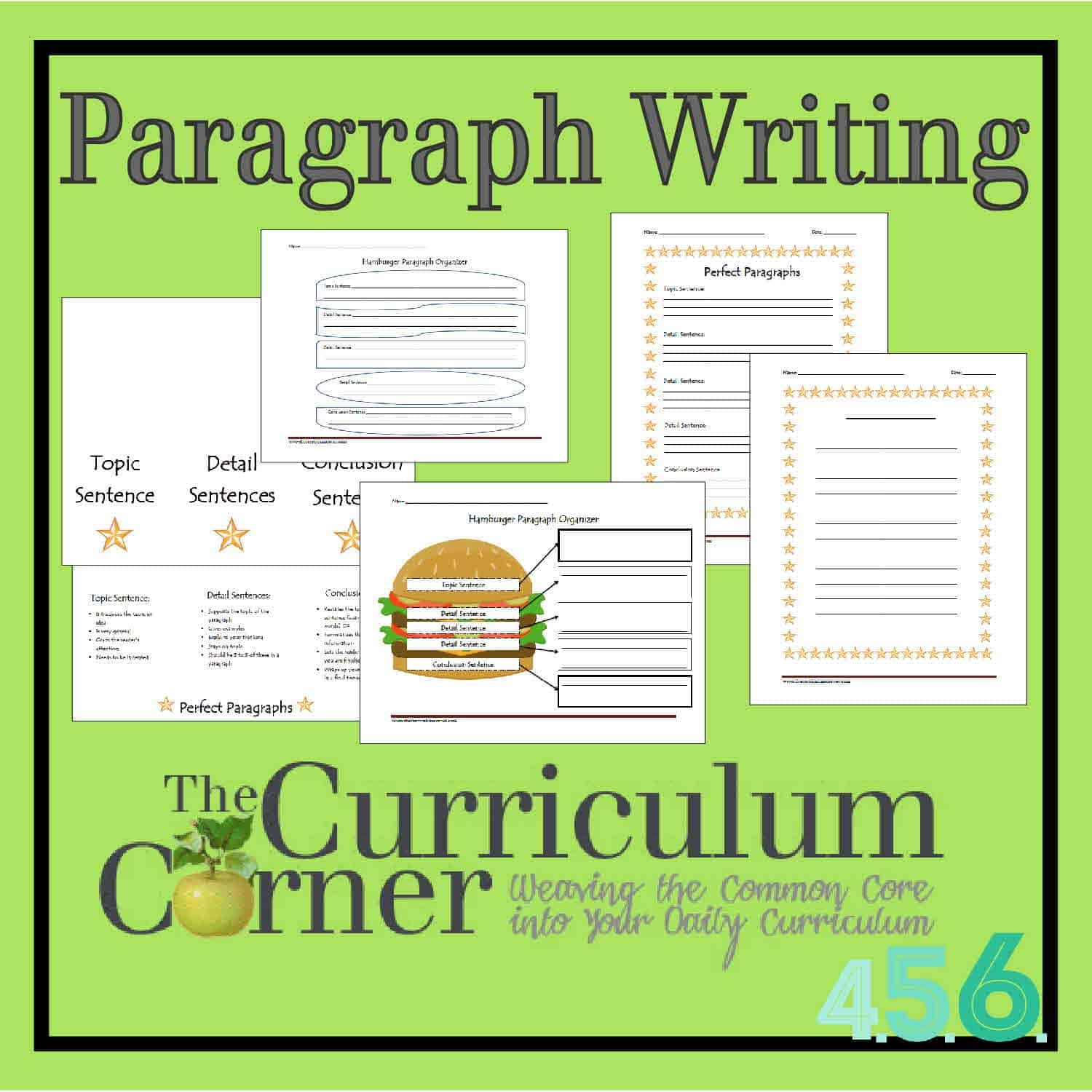 Worksheets Writing Paragraphs Worksheet paragraph writing the curriculum corner 4 5 6 activities for 4th 5th and 6th grades by corner