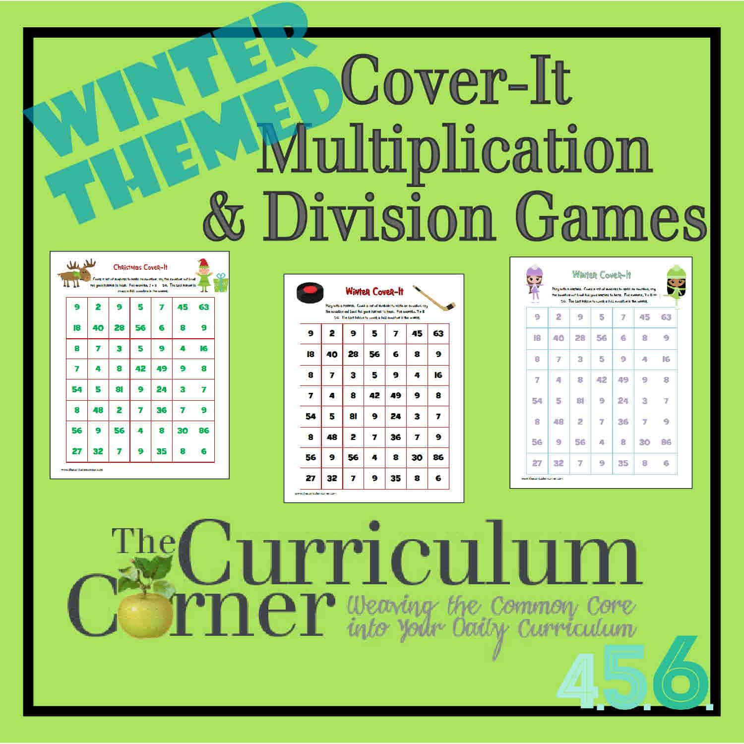 Winter Cover-It Multiplication & Division Games - The Curriculum ...