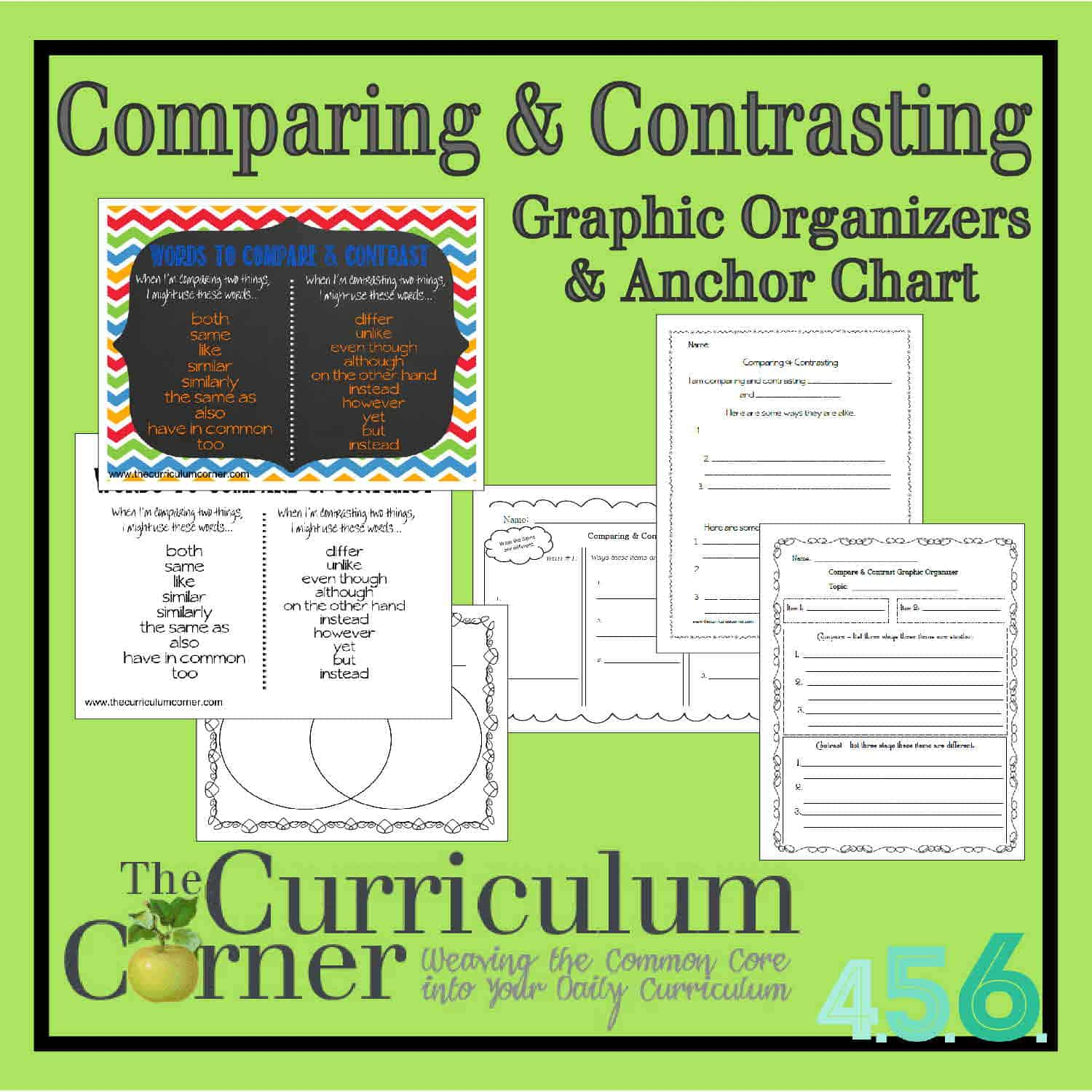 comparing contrasting anchor chart and graphic organizers from the curriculum corner free - Compare And Contrast Essay Outline Format