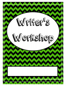 Green Chevron Writer's Workshop Cover with FREE Writing Binder from The Curriculum Corner
