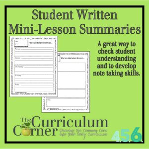 Student Written Mini-Lesson Summaries by The Curriculum Corner