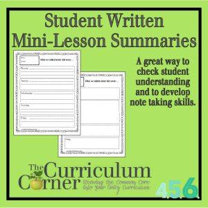 Student Written Mini-Lesson Summaries by The Curriculum Corner