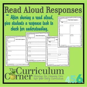 Read Aloud Response Sheets by The Curriculum Corner