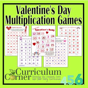 Valentine's Day Multiplication Games by the Curriculum Corner - free!
