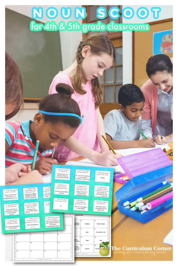 Download this free Noun Scoot game to work on nouns with your fourth and fifth grade students during language. Another freebie from The Curriculum Corner.
