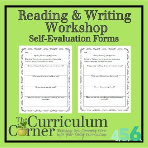 Reading & Writing Workshop Self Evaluation Forms by The Curriculum Corner