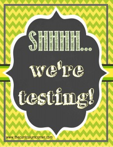 FREE We're Testing Sign | Chalkboard Theme | Classroom | The Curriculum Corner | Standardized Testing