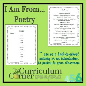 I am from poetry activity by The Curriculum Corner