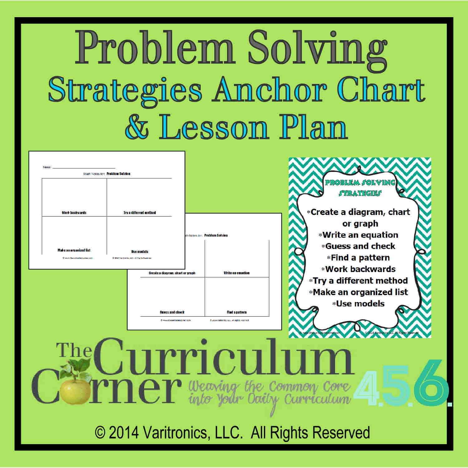 Problem Solving Strategies Anchor Chart & Lesson Plan