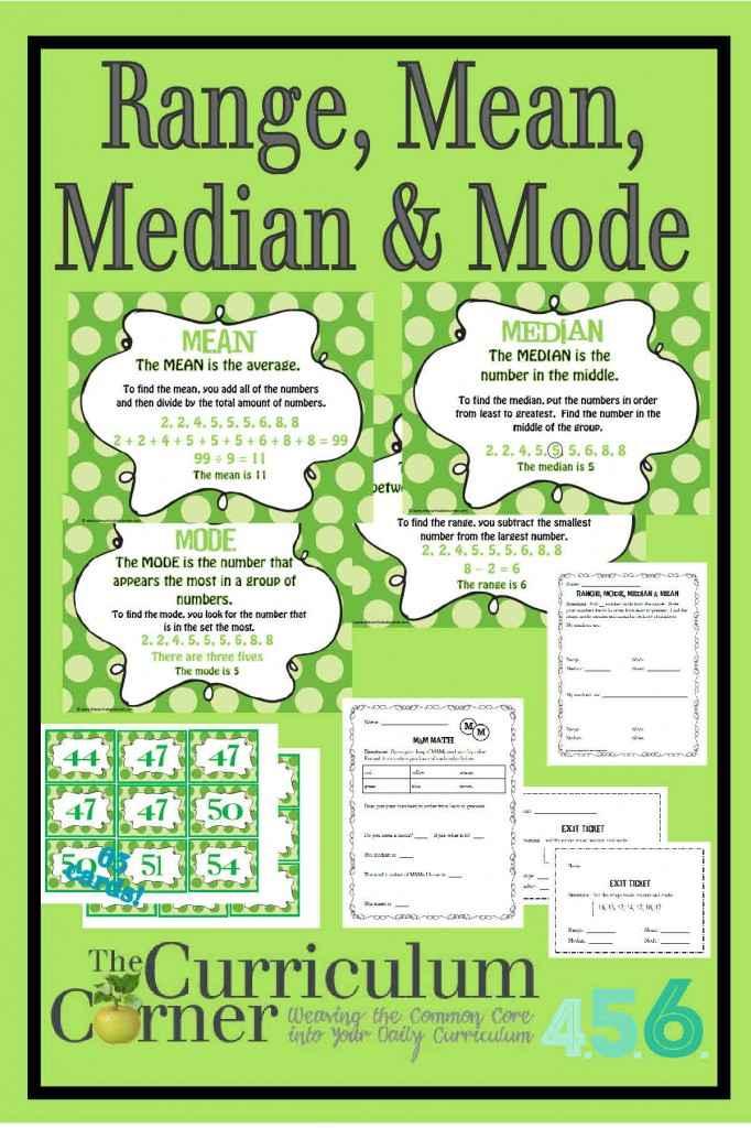 Range, Mean, Median & Mode Anchor Charts and Activities Free from The Curriculum Corner