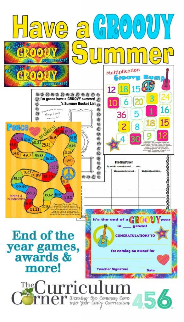 Have a Groovy Summer End of the Year Games, Awards, Bookmarks & more from The Curriculum Corner FREE