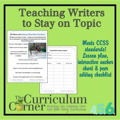 Staying on Topic Writing Lesson