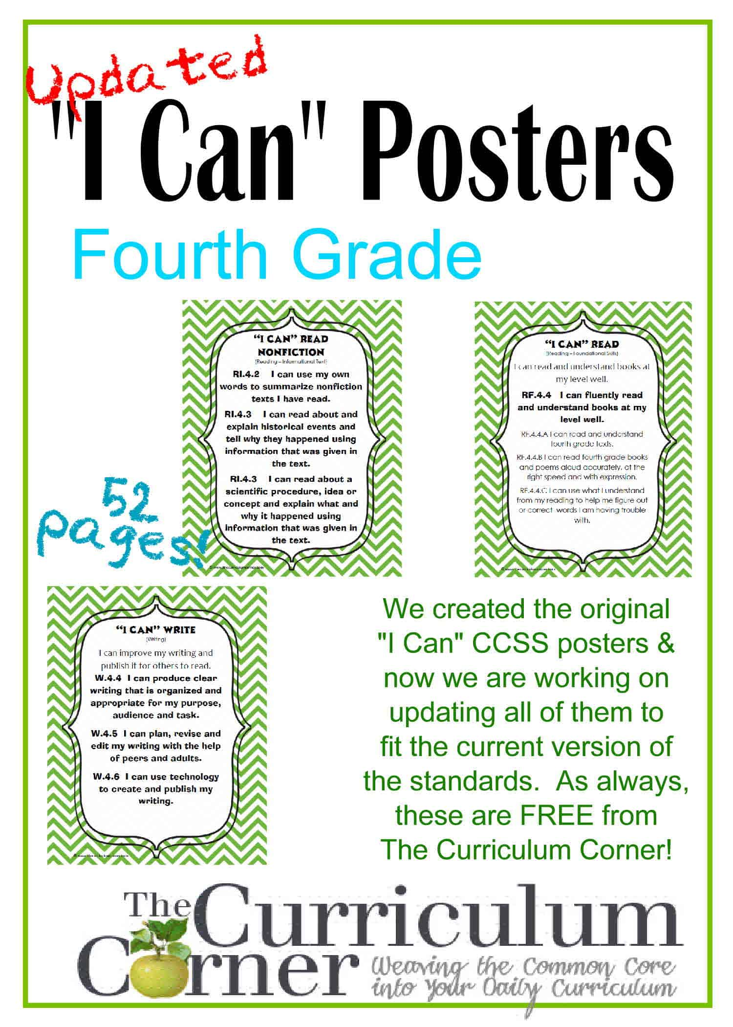 "Updated 4th Grade ""I Can"" CCSS Posters in Green Chevron"