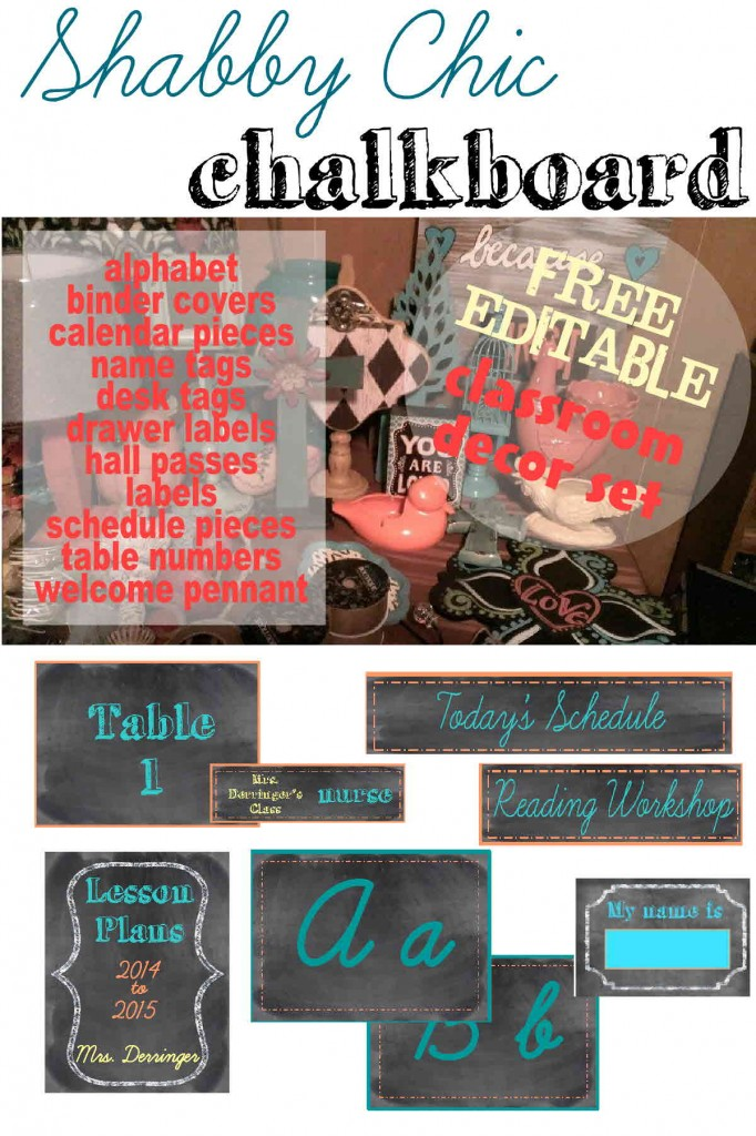 Shabby Chic Chalkboard FREE Editable Decor Set for the Classroom