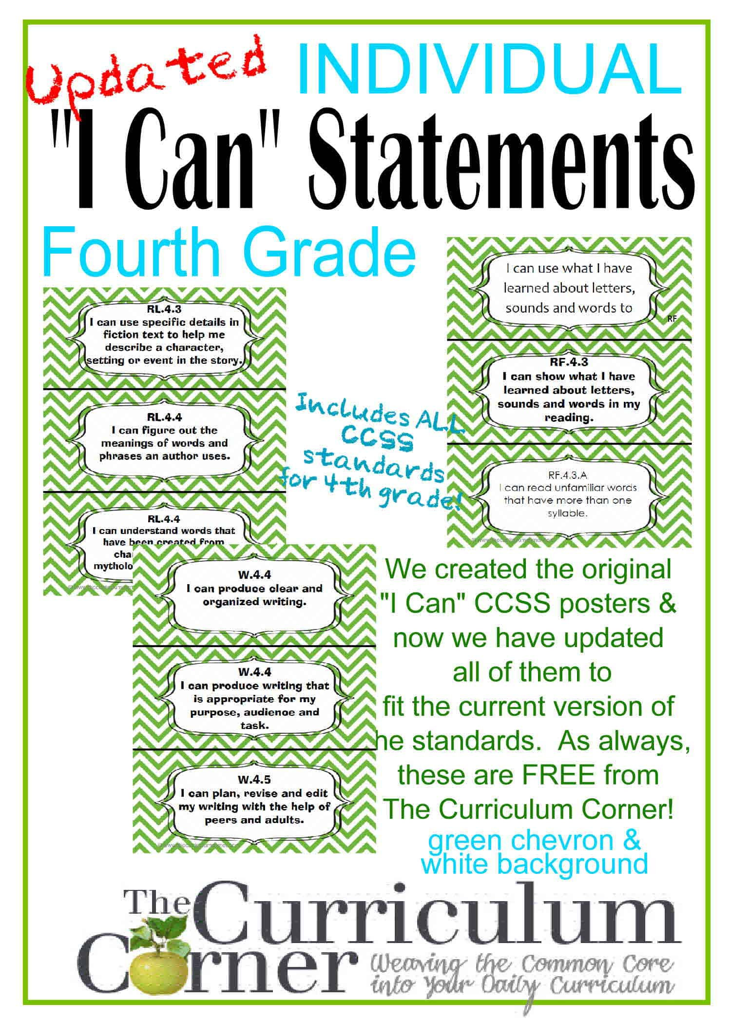 Individual I Can Statements for CCSS 4th Grade in Green Chevron