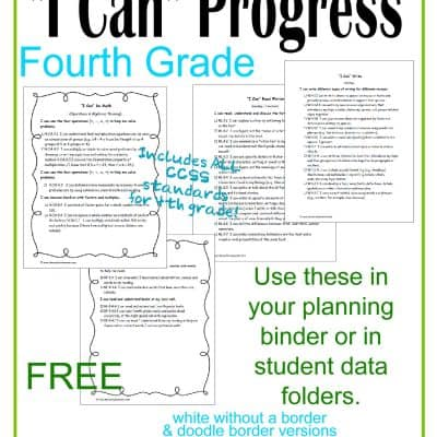 I Can Statements 4th Grade CCSS Progress Checkboxes
