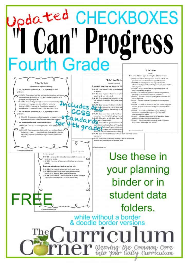 Updated I Can Standards by The Curriculum Corner- progress checkbox format for easy monitoring