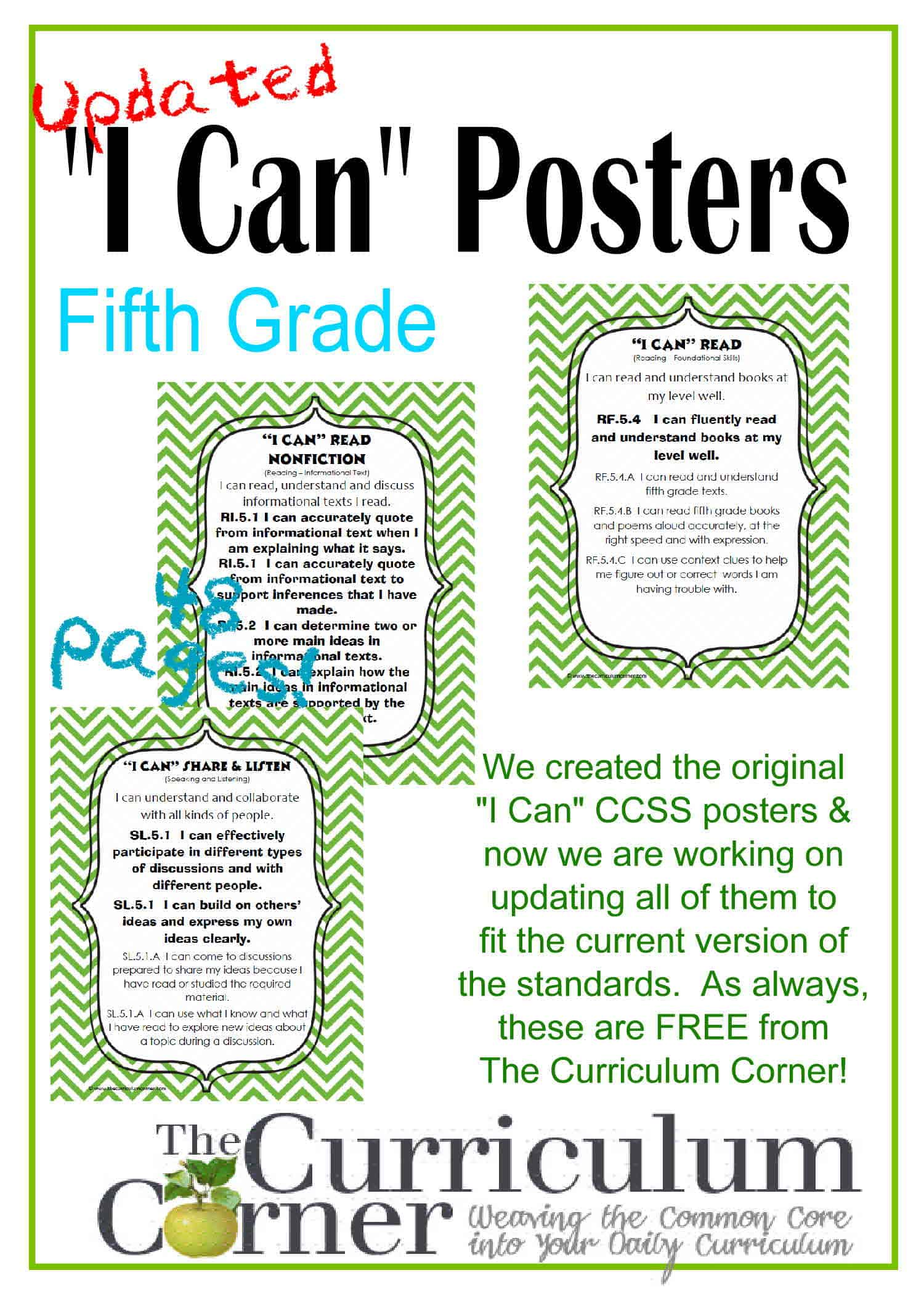 "Updated 5th Grade ""I Can"" CCSS Posters in Green Chevron"