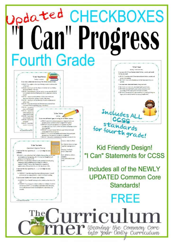 I Can Cute Progress Checkboxes  FREE Common Core Kid Friendly Statements from The Curriculum Corner