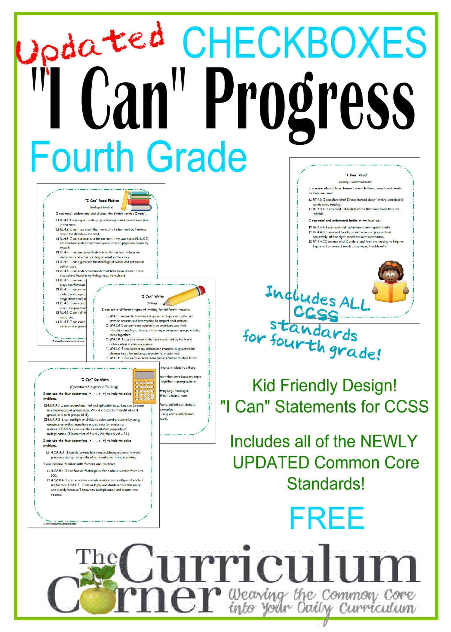 Kid Clip Art I Can Statements 4th Grade CCSS Checkboxes