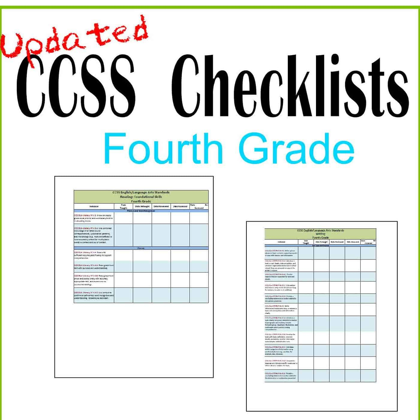 "Updated 4th Grade CCSS and ""I Can"" Checklists"