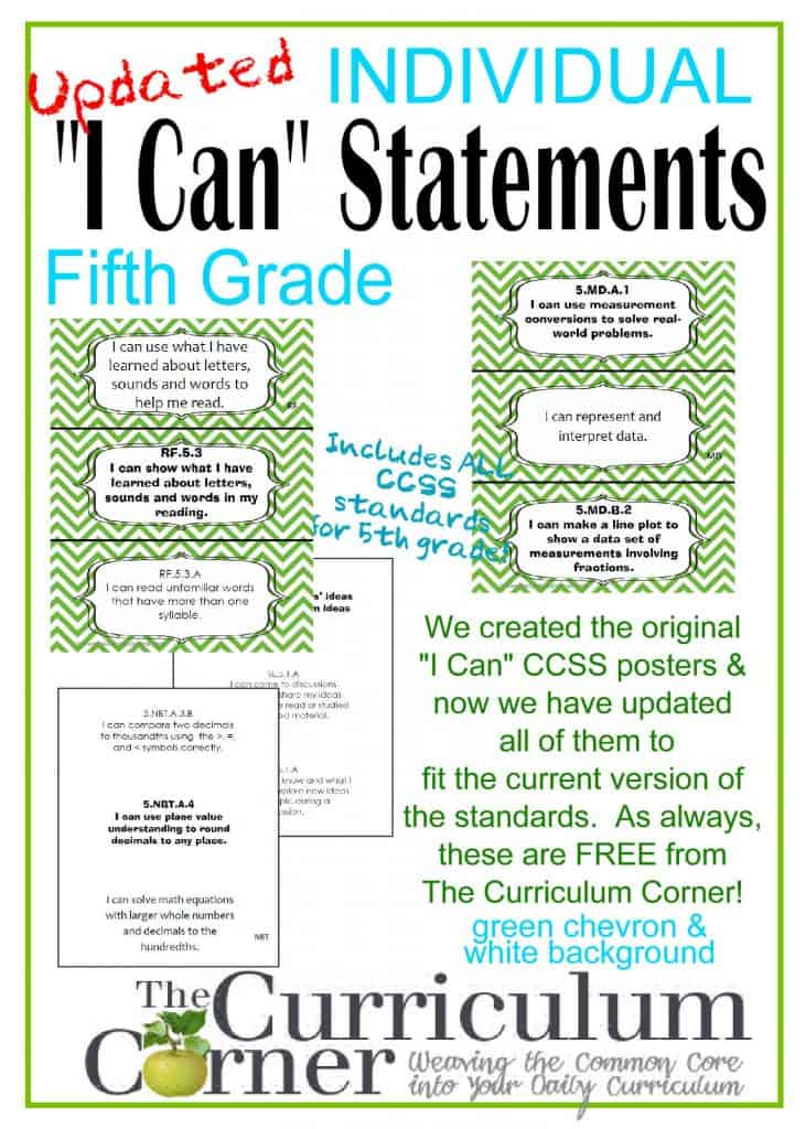 Individual I Can CCSS Statements for 5th Grade Common Core FREE from www.thecurriculumcorner.com