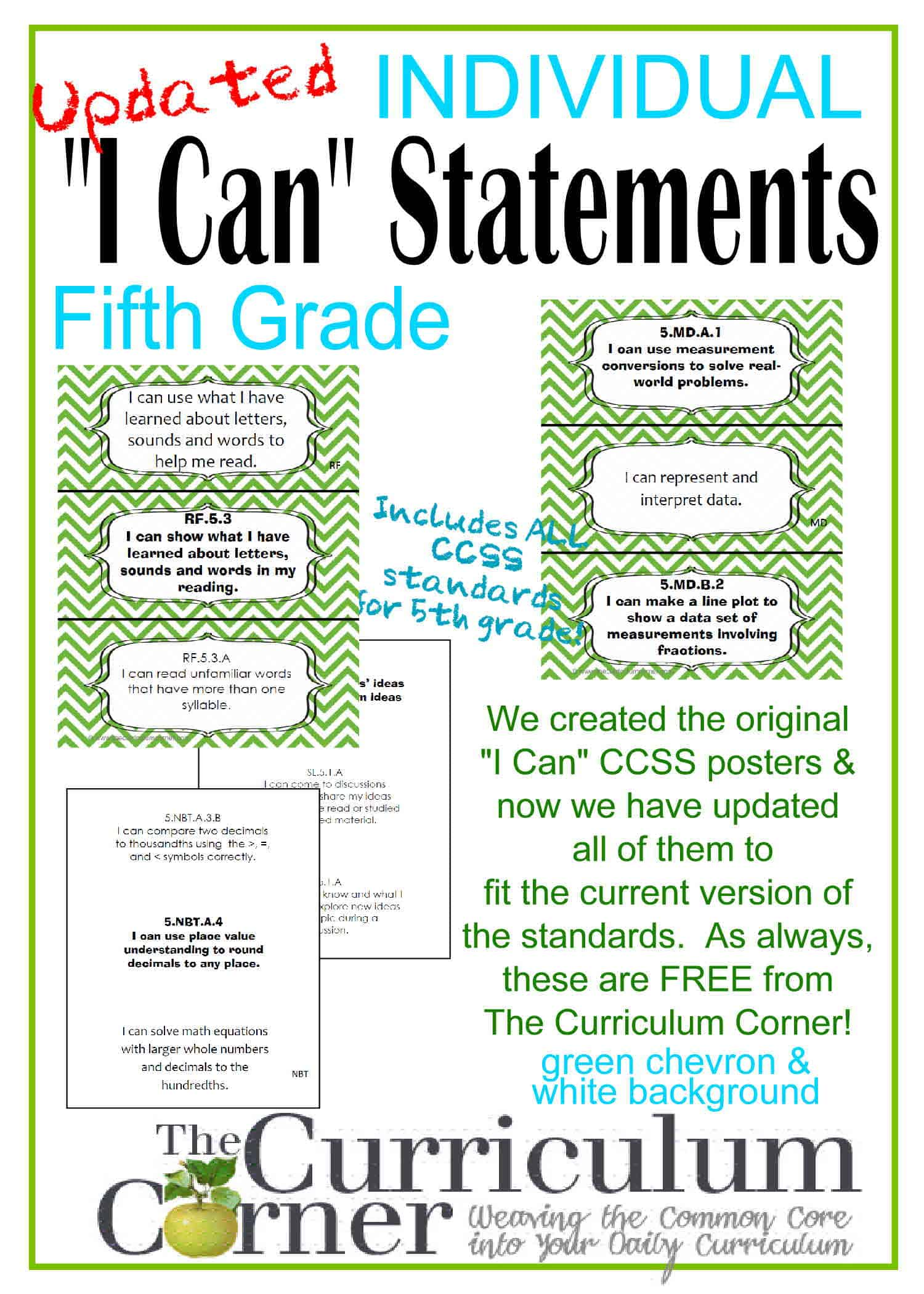 Individual I Can Statements for CCSS 5th Grade in Green Chevron