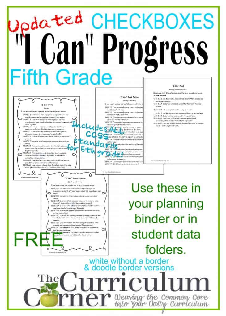 "5th Grade ""I Can"" Common Core Statements in Kid Friendly Language FREE by The Curriculum Corner 