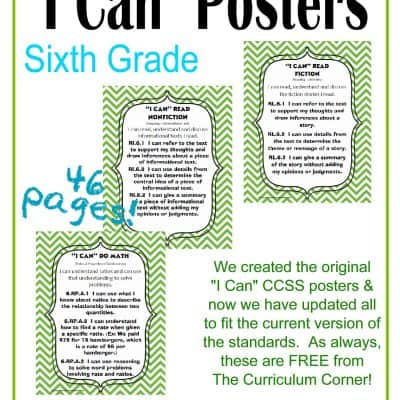 "Updated 6th Grade ""I Can"" CCSS Posters in Green Chevron"