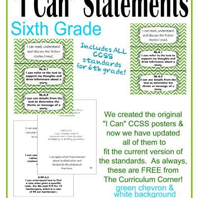 Individual I Can Statements for CCSS 6th Grade in Green Chevron