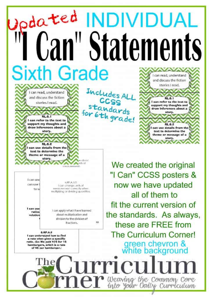 I Can CCSS Common Core Statements for 6th Grade FREE from www.thecurriculumcorner.com  Indiviidual statements