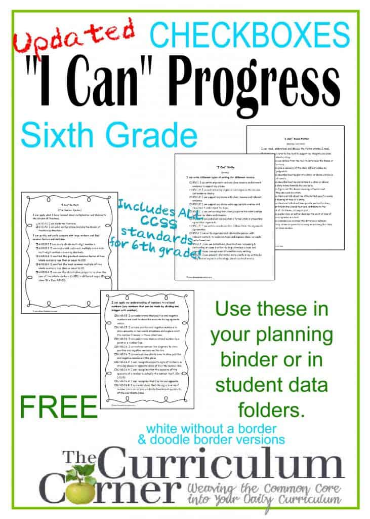 """I Can"" Common Core Statements for 6th Grade FREE from www.thecurriculumcorner.com"