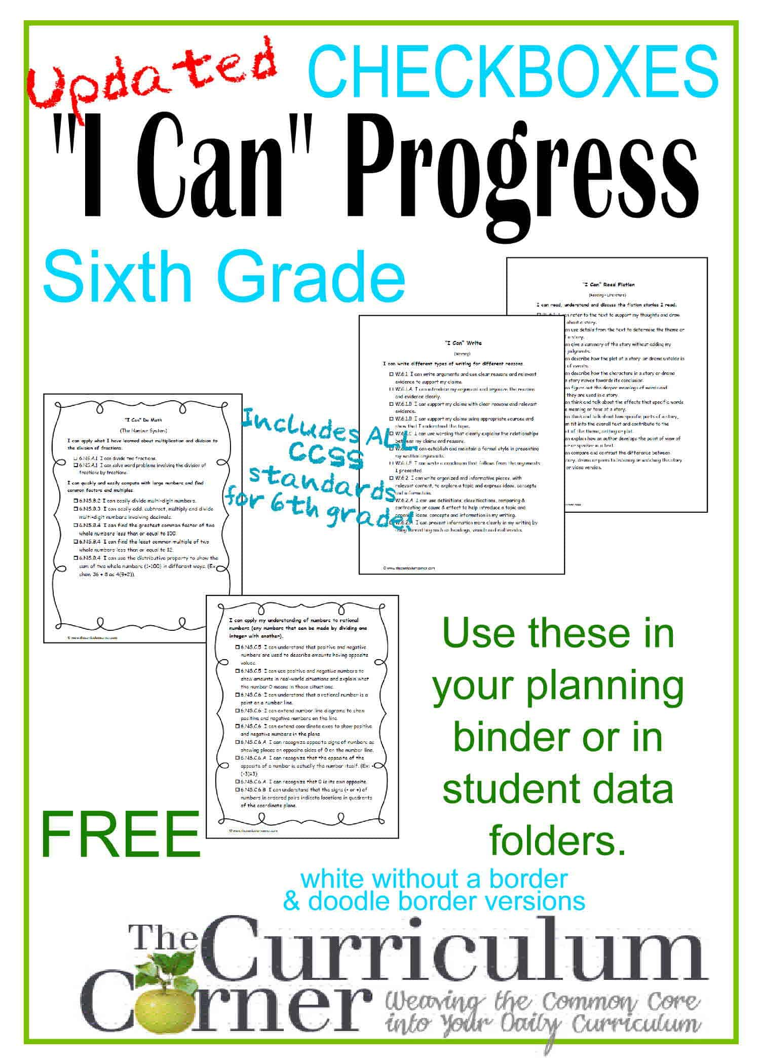 I Can Statements 6th Grade CCSS Progress Checkboxes