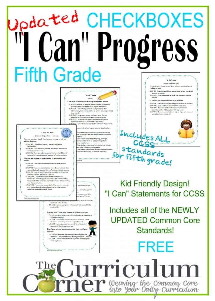 """I Can"" Statements CCSS Kid Friendly Clip Art Checkboxes by www.thecurriculumcorner.com 