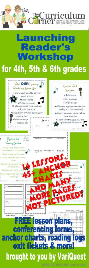 Complete Launching Reader's Workshop Unit of Study 14 lessons, 45+ anchor charts, exit tickets & more from www.thecurriculumcorner & VariQuest