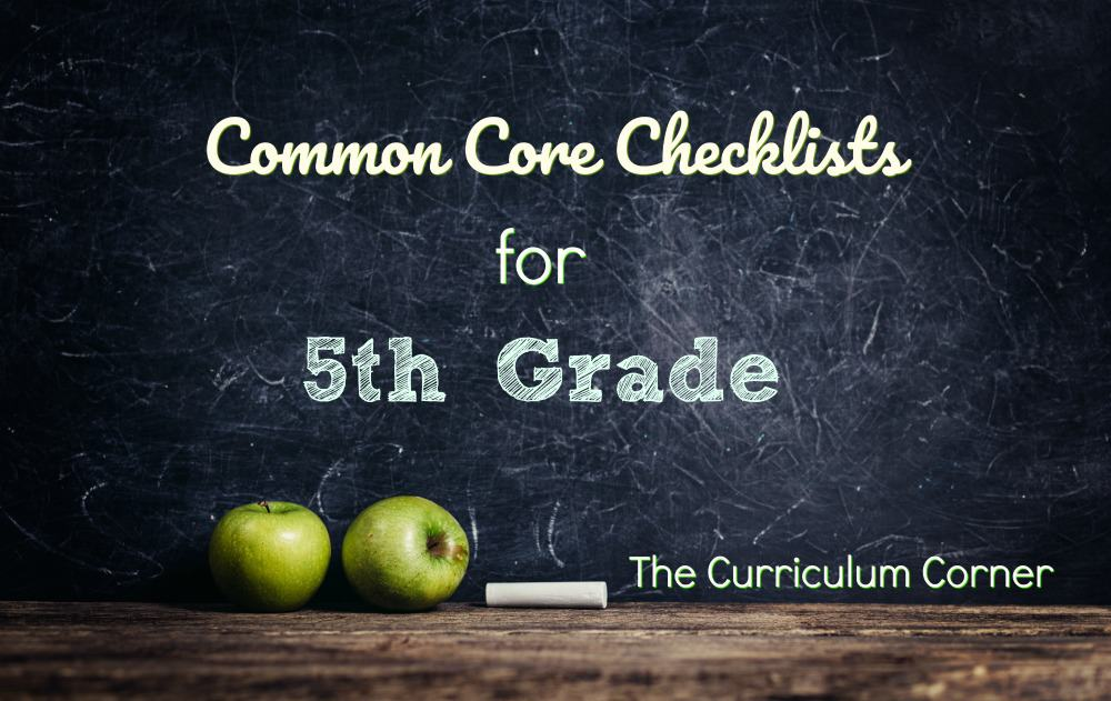 5th Grade Common Core Checklists from The Curriculum Corner