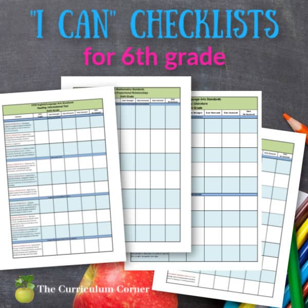 """Updated 6th Grade CCSS and """"I Can"""" Checklists"""