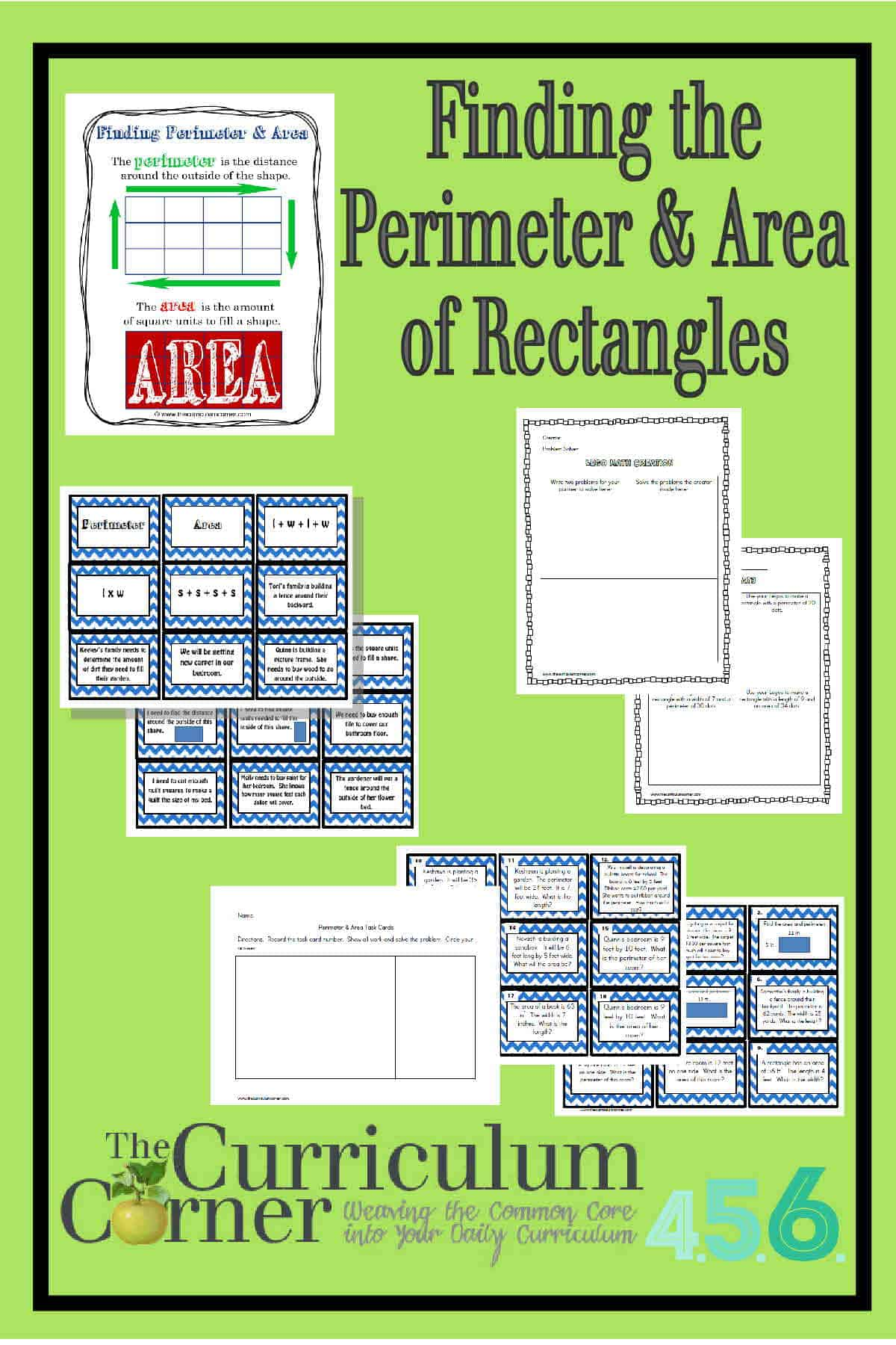 worksheet Finding Area And Perimeter perimeter and area of rectangles the curriculum corner 4 5 6 finding activities from free includes anchor chart