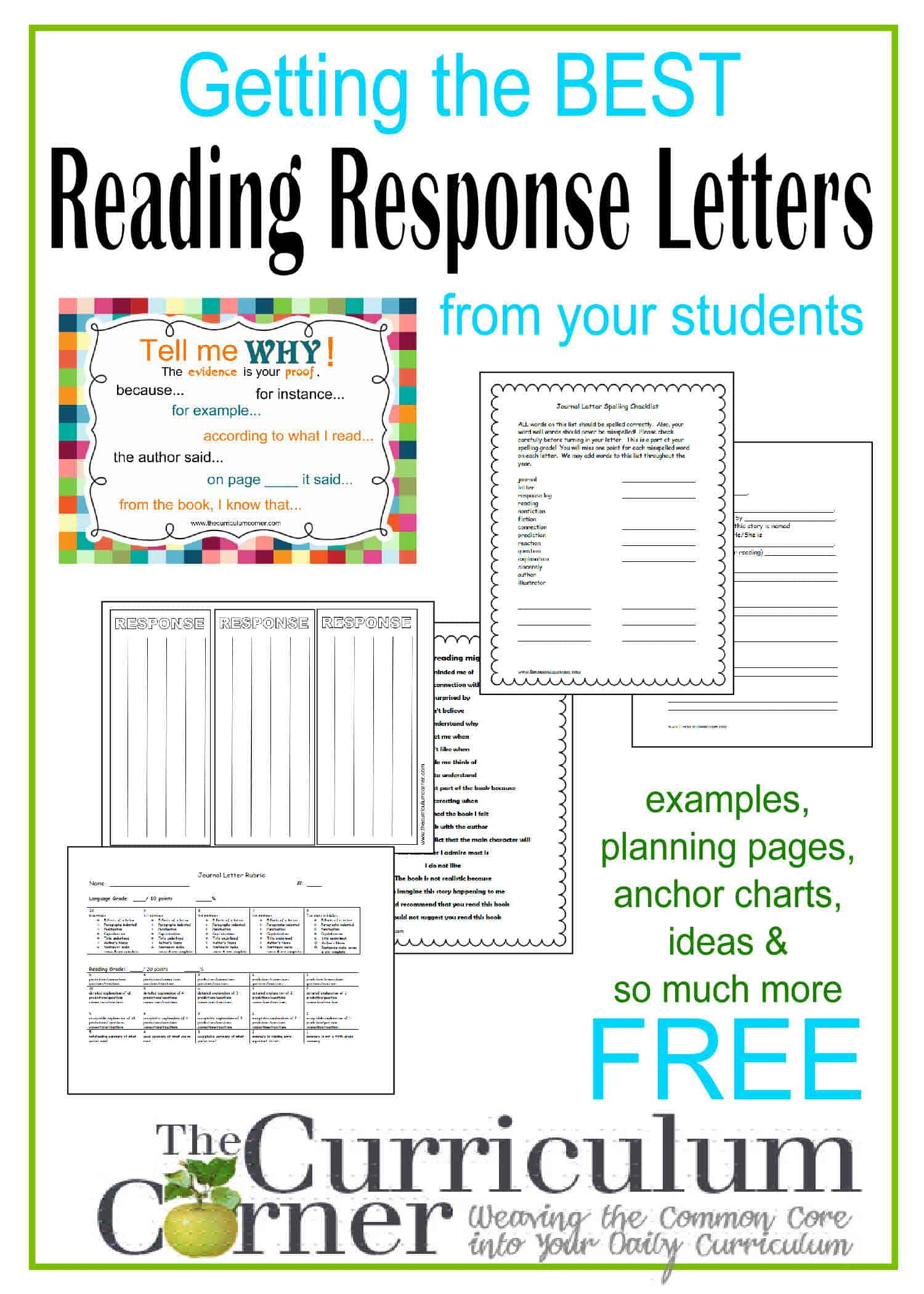 Reading Response Letters The Curriculum Corner 4 5 6